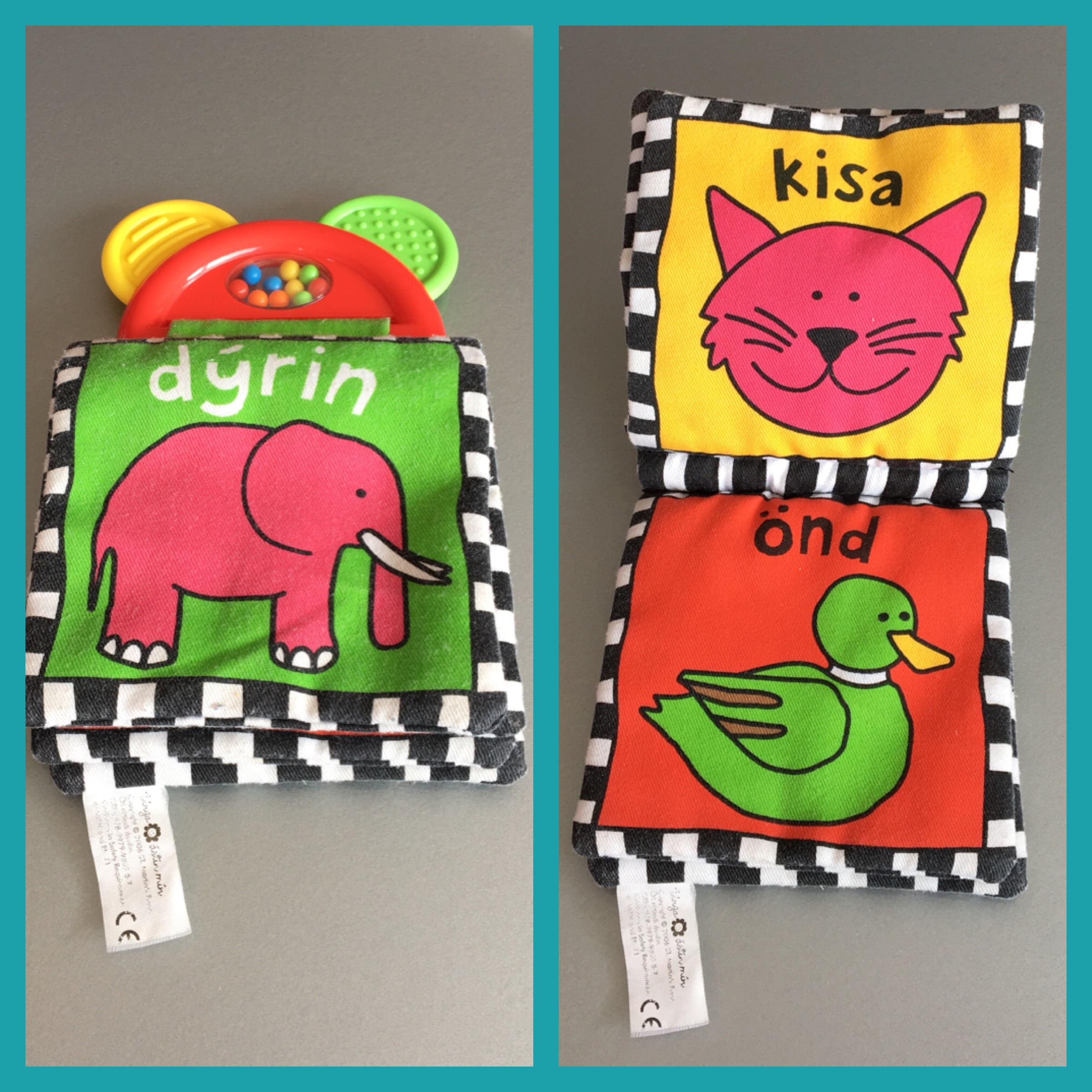 Colourful fabric book - also a teething toy